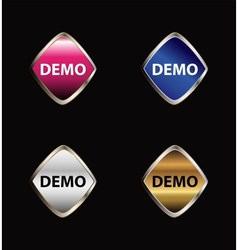 Demo sticker icon set vector