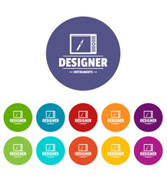 designer shop icons set color vector image