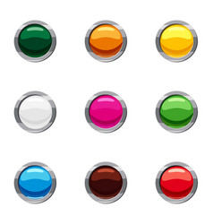 Different buttons icons set cartoon style vector