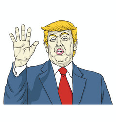 Donald trump says talk to my hand cartoon vector