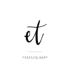 E t et initial logo signature handwriting vector