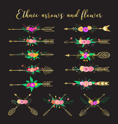 Ethnic arrows and flower vector