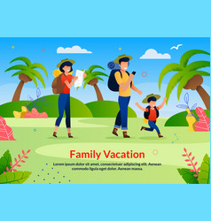 Family vacation scouting advertising flat poster vector