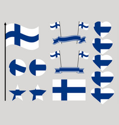 finland flag set collection of symbols heart vector image