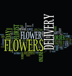 Flower delivery text background word cloud concept vector