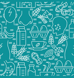 Food intolerance seamless pattern in line style vector