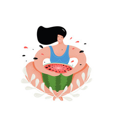 funny woman eating watermelon flat vector image