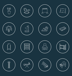 Furniture icons line style set with floor mirror vector