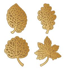 Gold leaves set vector