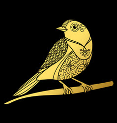 Gold ornate doodle bird on black backdrop vector