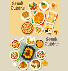 Greek cuisine tasty lunch dishes icon set vector
