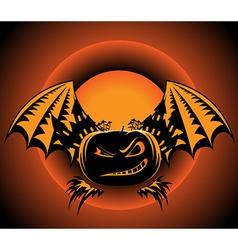 Halloween label with pumpkin wings vector image