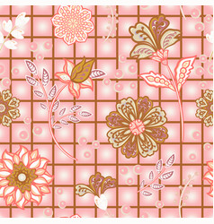 hand draw blooming garden flowers on window check vector image