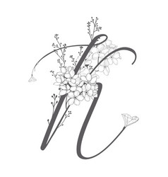 Hand drawn floral k monogram and logo vector