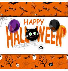Happy halloween background with spiderweb and text vector