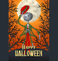 happy halloween spider on orange moonlight vector image