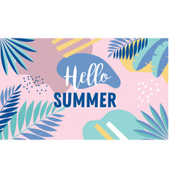 hello summer banner design with vintage colors vector image