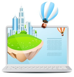 Icon Laptop with Flying Island vector
