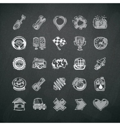 Icons Set of Car Symbols on Blackboard vector image