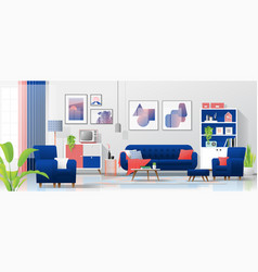 interior background with colorful living room vector image