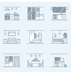 Interior design set Linear icons for interior vector