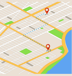 Isometric 3d map with location pins gps vector