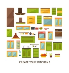 Kitchen Interior Decorative Elements Set vector