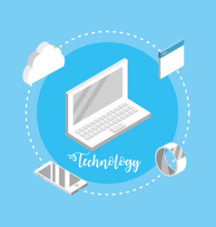 laptop technology with data services connect vector image
