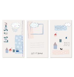 Let snow flakes fall winter baby season postcard vector