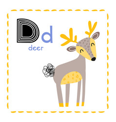 Letter d funny alphabet for young children vector
