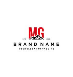 Letter mg mountain logo design vector