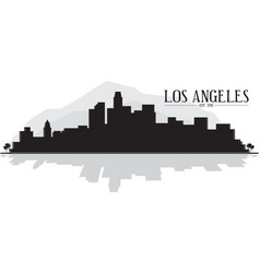 Los angeles skyline silhouette with mountains vector