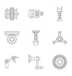 machinery gear icon set outline style vector image