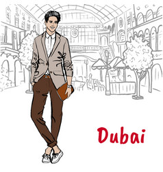 man in shopping mall in dubai vector image