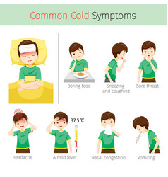 Man with common cold symptoms vector