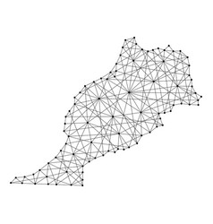 map of morocco from polygonal black lines and dots vector image