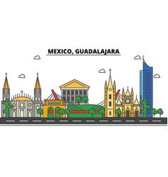 mexico guadalajara city skyline architecture vector image