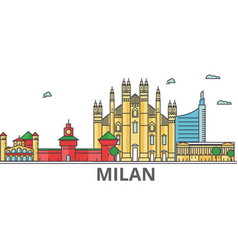 Milan city skyline buildings streets silhouette vector
