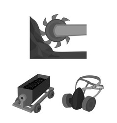 Mining industry monochrome icons in set collection vector