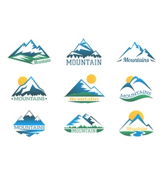 Mountains logo set mountain peak landscape with vector