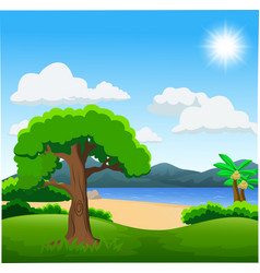 nature with green forest calm lake vector image