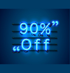 Neon frame 90 off text banner night sign board vector