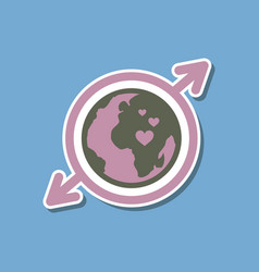 Paper sticker on stylish background gays earth vector