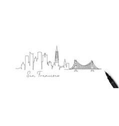 Pen line silhouette san francisco vector