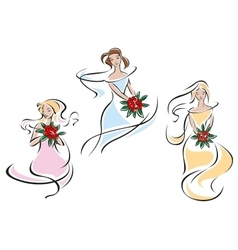 Pretty doodle sketches of brides vector image