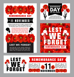 Remembrance day memorial card of red poppy flower vector