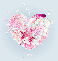 romantic flower heart for valentines day vector image