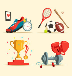 running shoes and baseball bat soccer rugball vector image