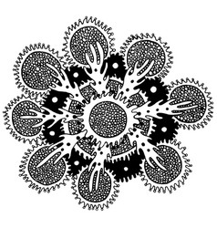 Sea mandala flower with coral and algae vector