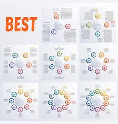 set modern infographic diagram business steps vector image